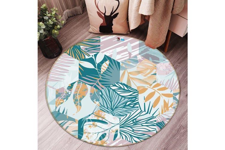 3D Hexagonal Leaf Pattern 286 Round Non Slip Rug Mat, 160cm(63'')