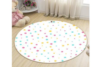 3D Colored Dots 194 Round Non Slip Rug Mat, 120cm(47.2'')