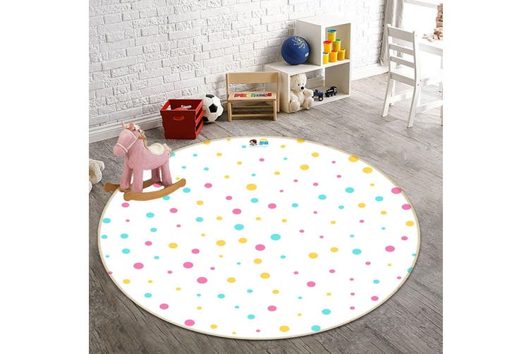 3D Colored Dots 194 Round Non Slip Rug Mat, 160cm(63'')