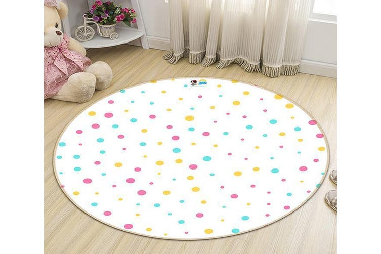 3D Colored Dots 194 Round Non Slip Rug Mat, 200cm(78.7'')
