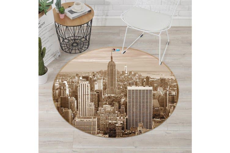 3D Gray City 191 Round Non Slip Rug Mat, 180cm(70.9'')