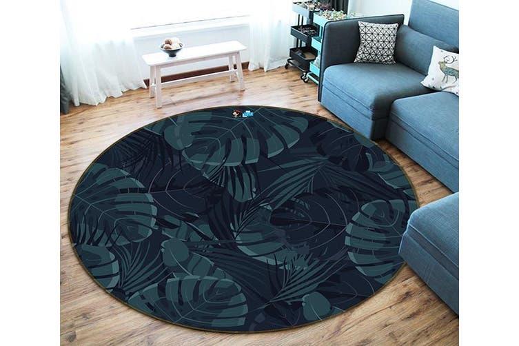 3D Black Leaves 190 Round Non Slip Rug Mat, 120cm(47.2'')
