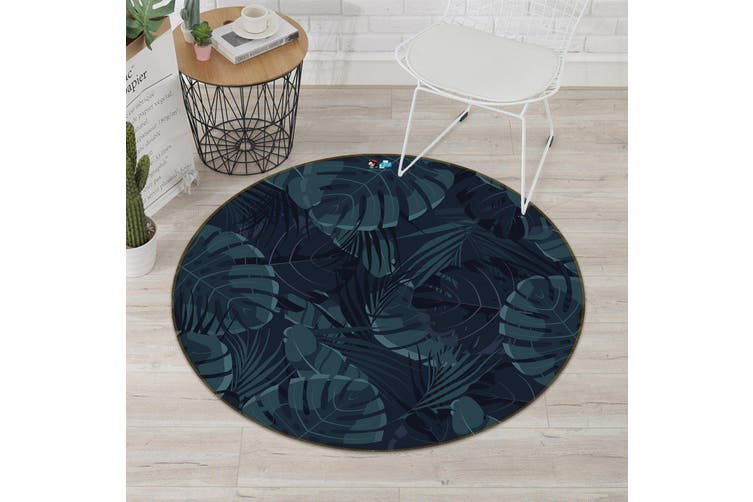 3D Black Leaves 190 Round Non Slip Rug Mat, 160cm(63'')