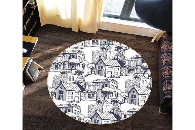 3D Graffiti House 188 Round Non Slip Rug Mat, 200cm(78.7'')