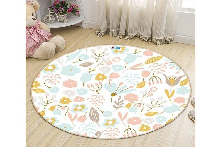 3D Flower Grain 187 Round Non Slip Rug Mat, 200cm(78.7'')