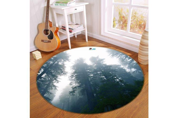 3D Sky Forest 185 Round Non Slip Rug Mat, 180cm(70.9'')