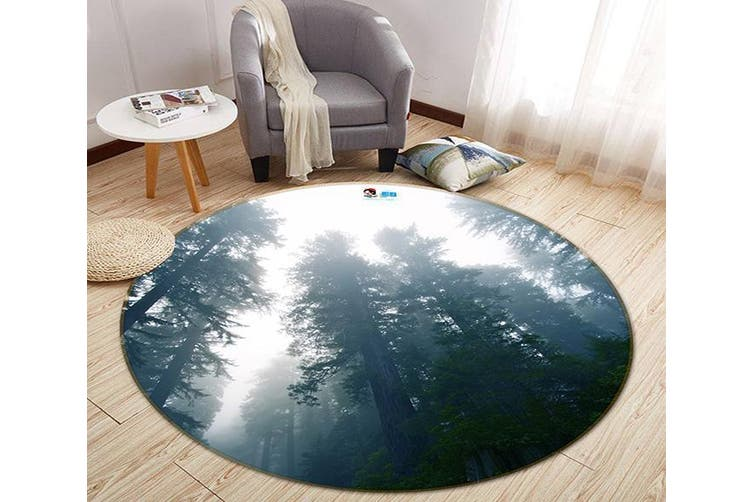 3D Sky Forest 185 Round Non Slip Rug Mat, 200cm(78.7'')
