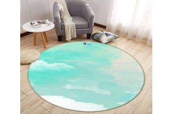 3D Gouache Cloud 182 Round Non Slip Rug Mat, 120cm(47.2'')