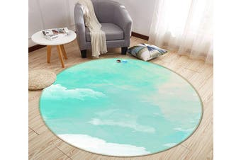 3D Gouache Cloud 182 Round Non Slip Rug Mat, 200cm(78.7'')