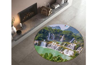 3D Waterfall Lake 180 Round Non Slip Rug Mat, 60cm(23.6'')