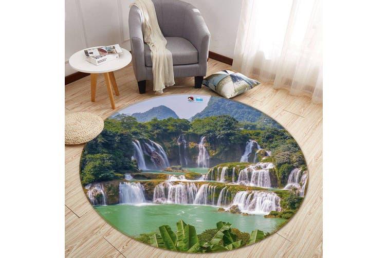 3D Waterfall Lake 180 Round Non Slip Rug Mat, 160cm(63'')