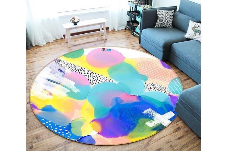 3D Colored Gouache 178 Round Non Slip Rug Mat, 120cm(47.2'')