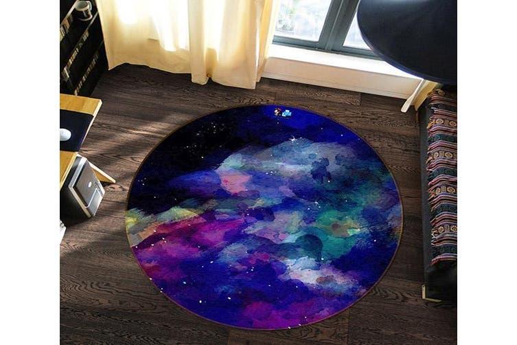 3D Purple Ink 176 Round Non Slip Rug Mat, 100cm(39.4'')