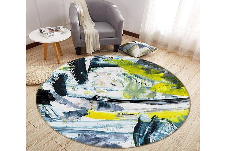 3D Abstract Ink 175 Round Non Slip Rug Mat, 180cm(70.9'')