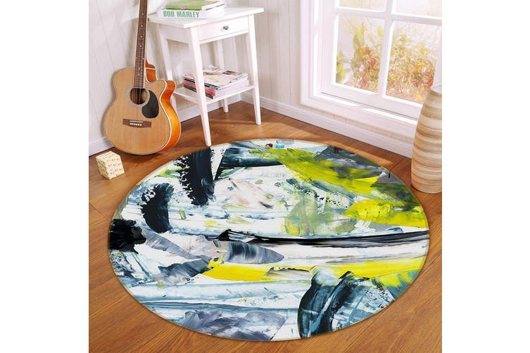 3D Abstract Ink 175 Round Non Slip Rug Mat, 200cm(78.7'')