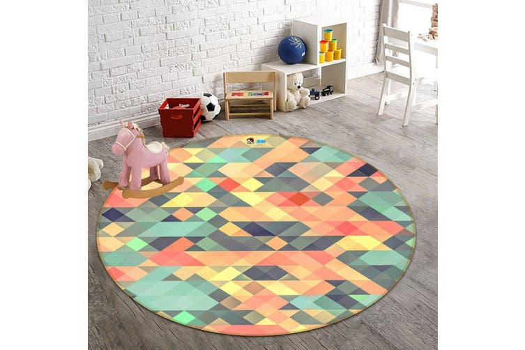 3D Colored Triangle 172 Round Non Slip Rug Mat, 100cm(39.4'')