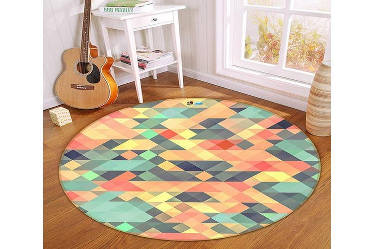 3D Colored Triangle 172 Round Non Slip Rug Mat, 200cm(78.7'')