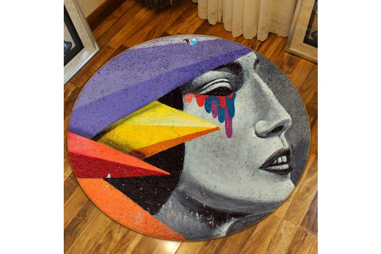 3D Colorful Tears 171 Round Non Slip Rug Mat, 120cm(47.2'')