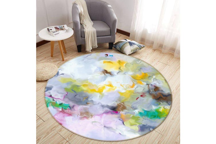 3D Color Wave 170 Round Non Slip Rug Mat, 180cm(70.9'')
