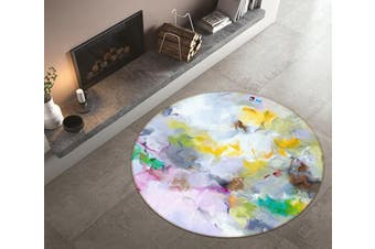 3D Color Wave 170 Round Non Slip Rug Mat, 200cm(78.7'')