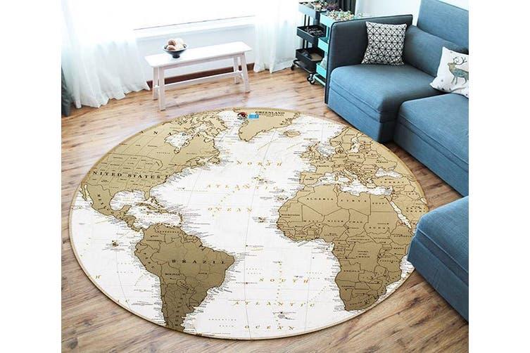3D Gray Map 168 Round Non Slip Rug Mat, 180cm(70.9'')