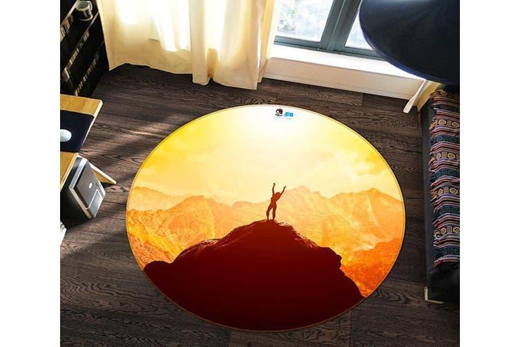 3D High Mountain 167 Round Non Slip Rug Mat, 160cm(63'')