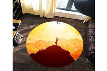3D High Mountain 167 Round Non Slip Rug Mat, 180cm(70.9'')