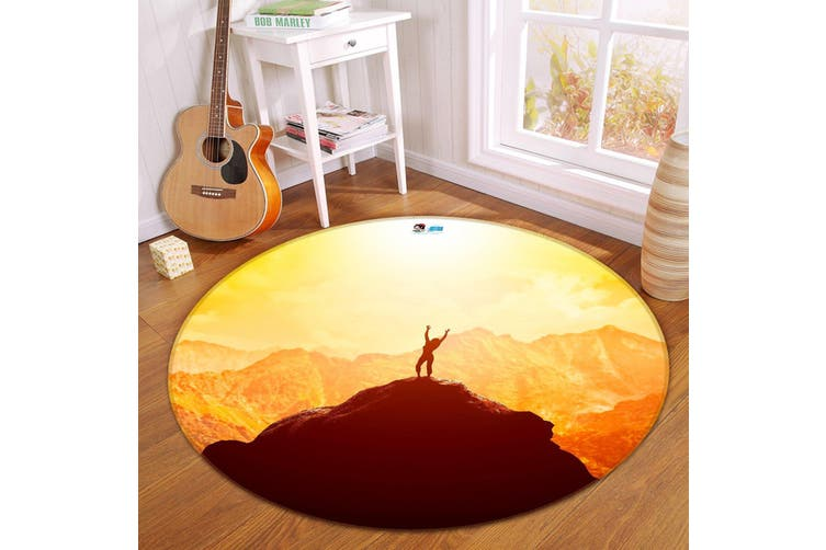 3D High Mountain 167 Round Non Slip Rug Mat, 200cm(78.7'')