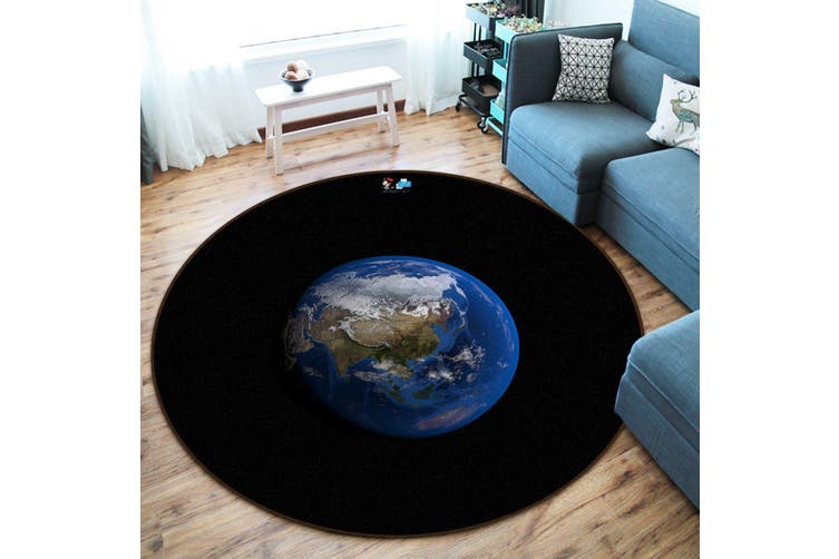 3D Black Earth 162 Round Non Slip Rug Mat, 120cm(47.2'')