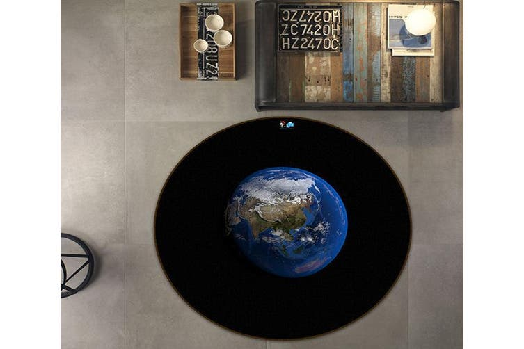 3D Black Earth 162 Round Non Slip Rug Mat, 200cm(78.7'')