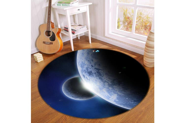 3D Planet Handover 161 Round Non Slip Rug Mat, 180cm(70.9'')