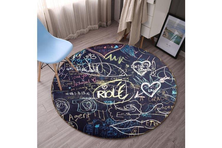 3D Blackboard Love 153 Round Non Slip Rug Mat, 100cm(39.4'')