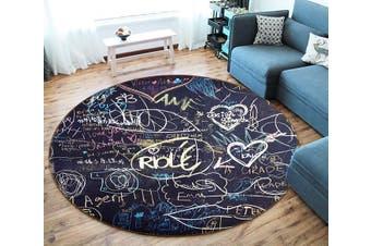 3D Blackboard Love 153 Round Non Slip Rug Mat, 180cm(70.9'')
