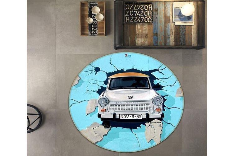 3D Broken Wall 152 Round Non Slip Rug Mat, 180cm(70.9'')
