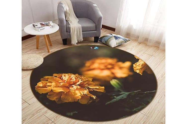 3D Orange Flower 150 Round Non Slip Rug Mat, 100cm(39.4'')