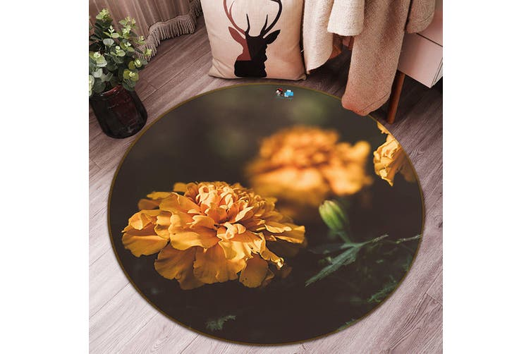 3D Orange Flower 150 Round Non Slip Rug Mat, 120cm(47.2'')
