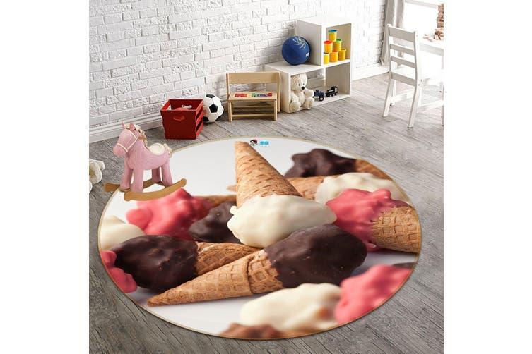 3D Chocolate Ice Cream 147 Round Non Slip Rug Mat, 100cm(39.4'')