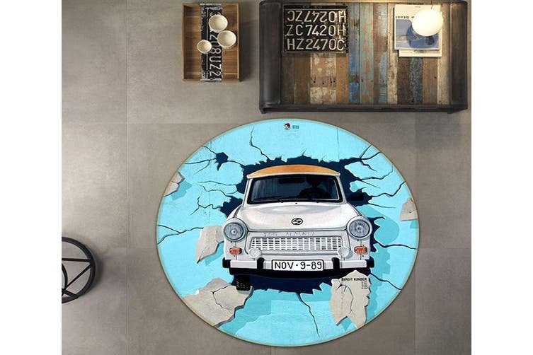 3D Bridge Car Broken Wall 145 Round Non Slip Rug Mat, 160cm(63'')