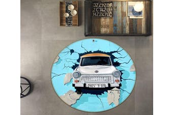 3D Bridge Car Broken Wall 145 Round Non Slip Rug Mat, 180cm(70.9'')