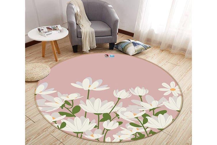 3D Fresh Flower 143 Round Non Slip Rug Mat, 120cm(47.2'')