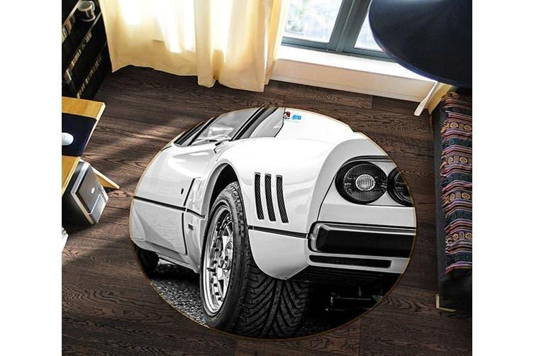 3D White Tail 142 Round Non Slip Rug Mat, 200cm(78.7'')