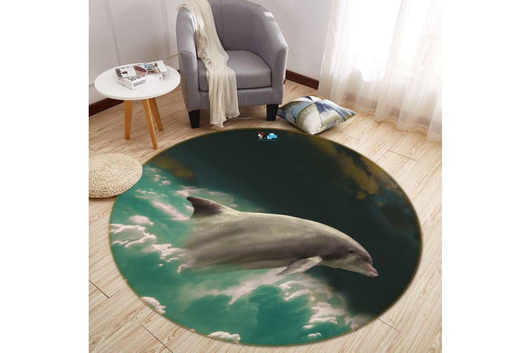 3D Dolphin Jump 140 Round Non Slip Rug Mat, 120cm(47.2'')