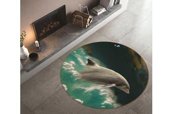3D Dolphin Jump 140 Round Non Slip Rug Mat, 180cm(70.9'')