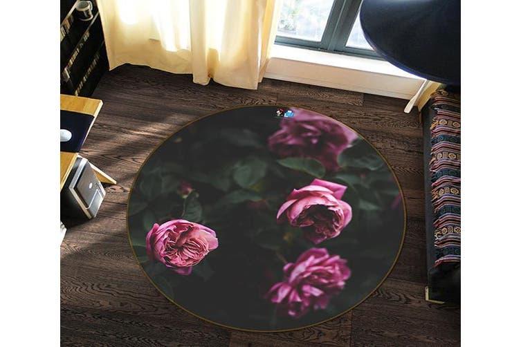 3D Pink Flower 138 Round Non Slip Rug Mat, 100cm(39.4'')