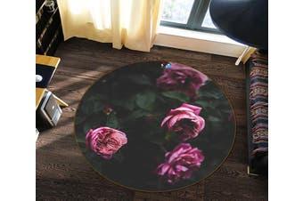 3D Pink Flower 138 Round Non Slip Rug Mat, 180cm(70.9'')
