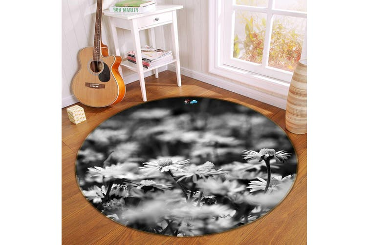 3D Vintage Flower 137 Round Non Slip Rug Mat, 100cm(39.4'')