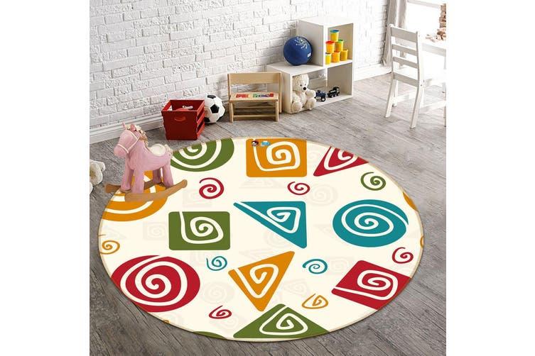 3D Color Pattern 136 Round Non Slip Rug Mat, 100cm(39.4'')