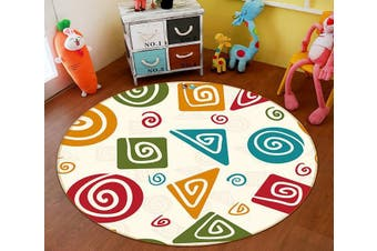 3D Color Pattern 136 Round Non Slip Rug Mat, 200cm(78.7'')