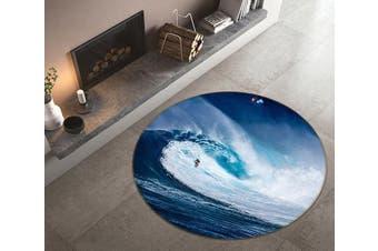 3D Fierce Surf 132 Round Non Slip Rug Mat, 100cm(39.4'')