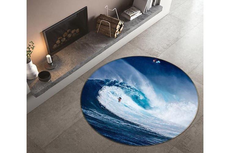 3D Fierce Surf 132 Round Non Slip Rug Mat, 120cm(47.2'')